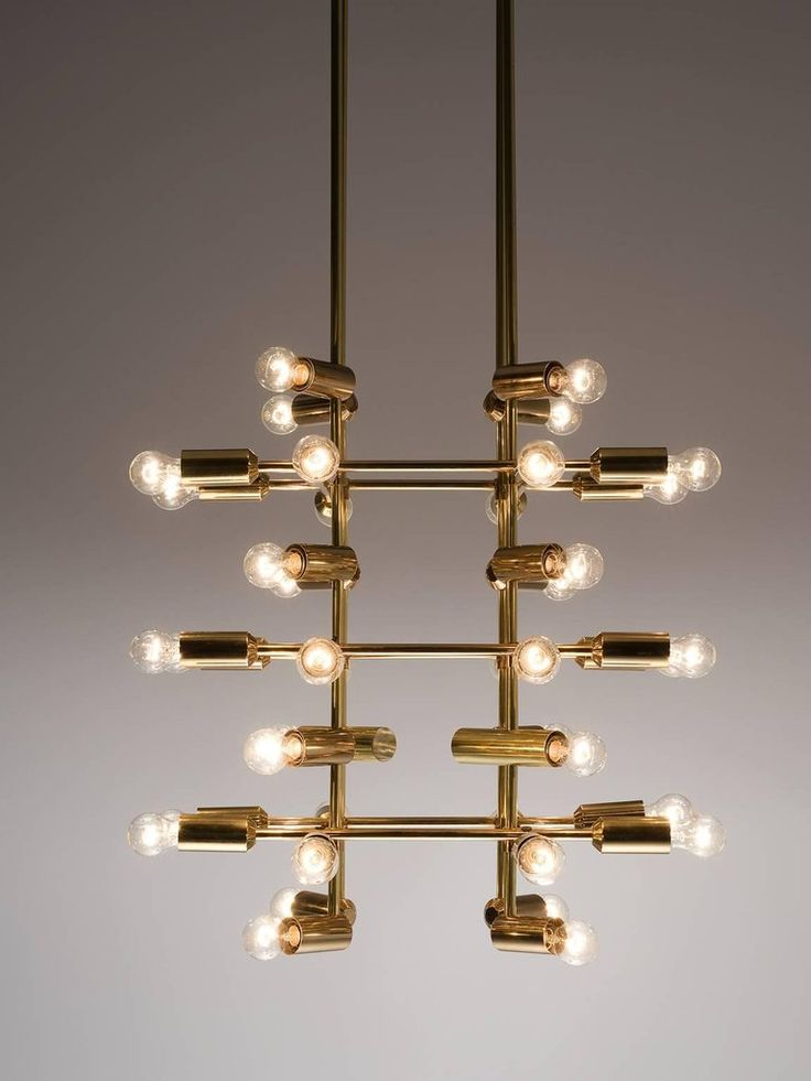Set of 21 Large Brass Chandeliers with Forty Bulbs 4