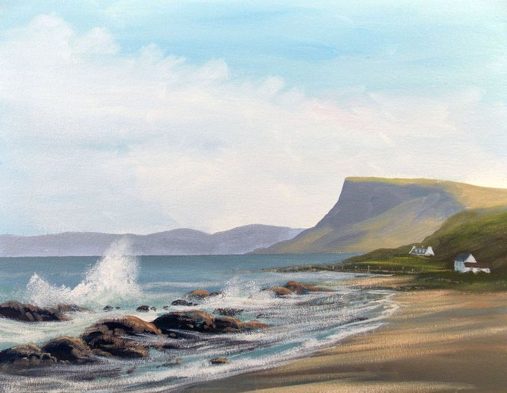 beach in antrim - Painting,  2x14x18 in ©2013 by Cathal O Malley -