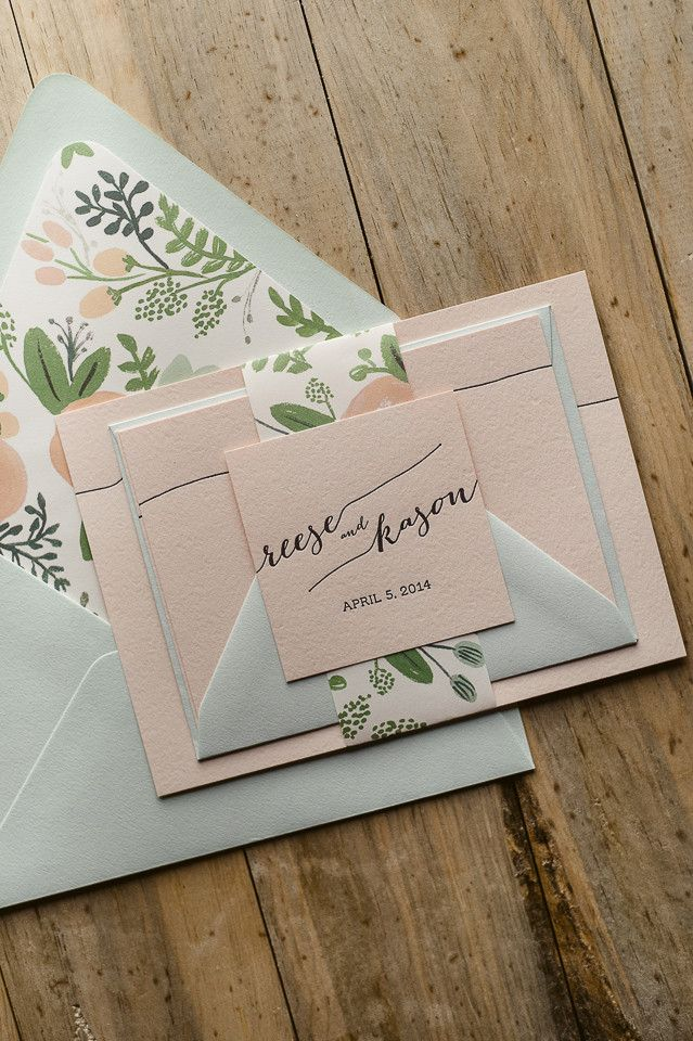 REESE Suite Floral Package, blush, mint, black, letterpress wedding invitations, floral, spring wedding, summer wedding, rustic wedding, Rifle Wildflower envelope liners and belly band