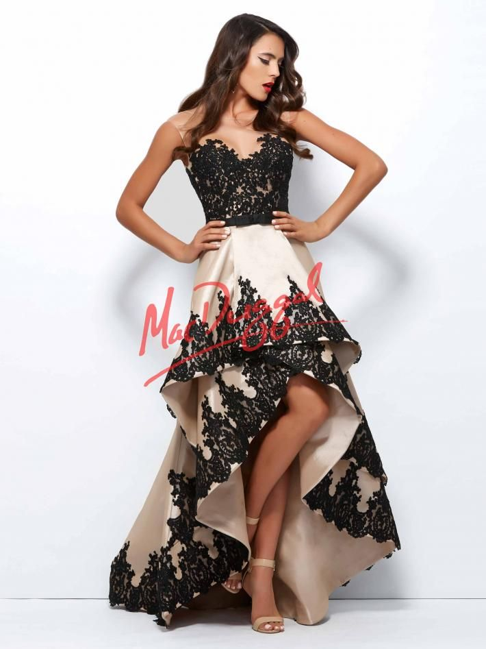 Black Lace High Low Dress | Mac Duggal 61993R
