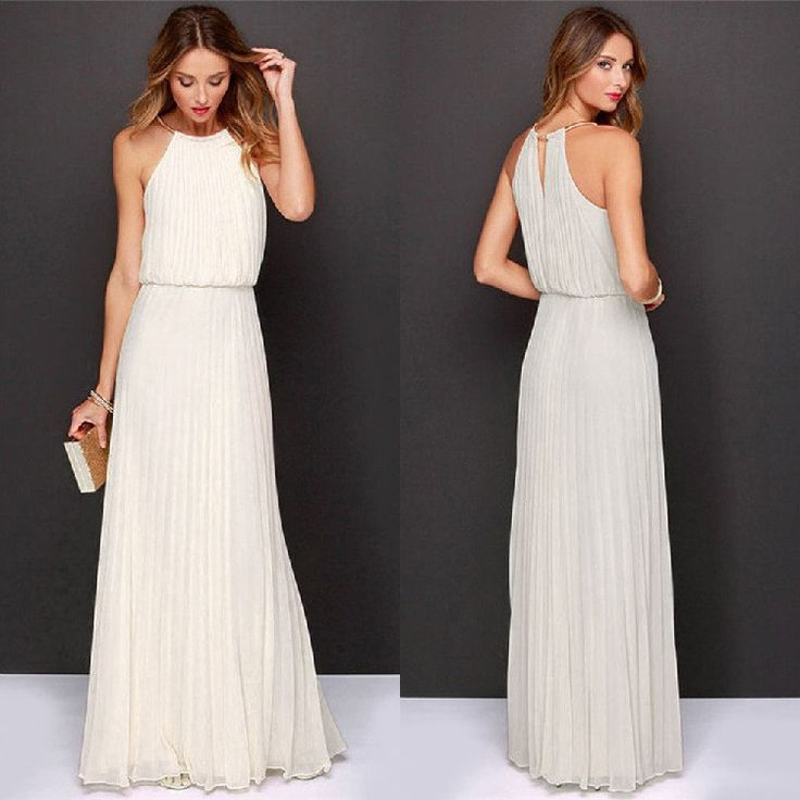 Formal Bear Shoulder Pleated Long Chiffon Maxi Party Prom Dress - O Yours Fashion - 1