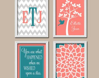 Popular items for coral teal nursery on Etsy