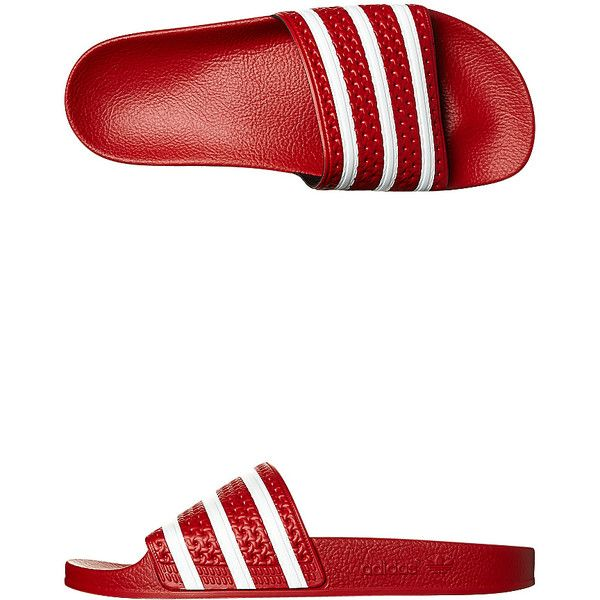 Adidas Originals Womens Adilette Thong ($21) ❤ liked on Polyvore featuring shoes, sandals, flip flops, footwear, red, thongs, womens footwear, red flip flops, red shoes and traction shoes