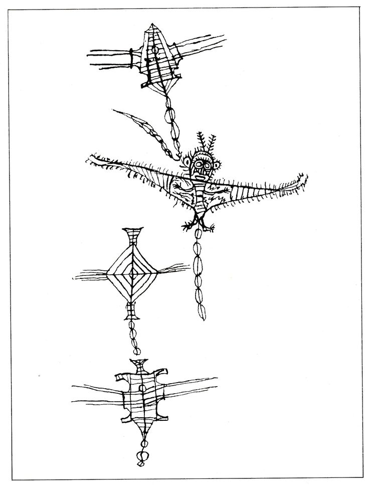 Kites of different shapes and sizes were made from raupo leaves, with frameworks of rods and twigs. Some of the larger, elaborate ones were in the form of hawks. This drawing was made in 1819 by Titore, a young chief from Te Tai Tokerau (Northland) who was visiting England at the time.