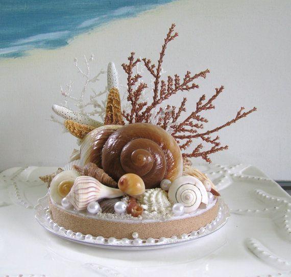 Seashell Starfish Wedding Cake TopperCoral by CeShoreTreasures, $55.00