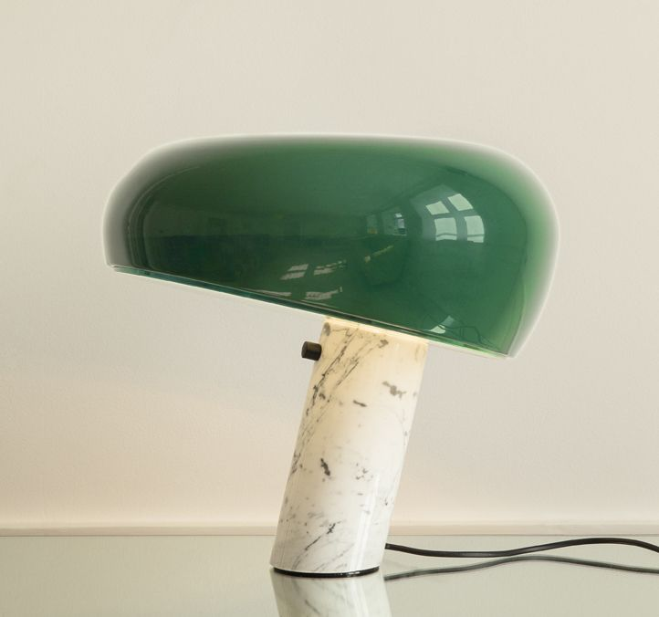 Table Lamp - Snoopy lamp. White marble base and lacquered metal shade. Limited edition of Achille & Pier Giacomo Castiglioni's 1967