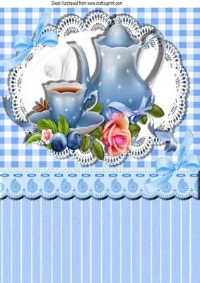 Pretty blue porcelaine china with roses on lace A4 on Craftsuprint - Add To Basket!
