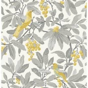 Royal Garden Floral Wallpaper in Grey-Yellow