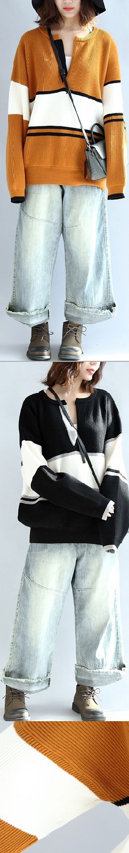 -yellow-white-patchwork-cotton-knitted-tops-neck-front-open-sweater