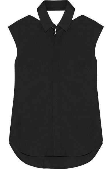 Facetasm - Velvet-trimmed Cutout Cotton-poplin Shirt - Black - 3