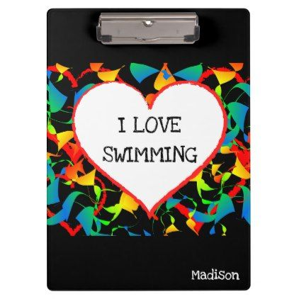 I Love Swimming Sports Editable Modern Abstract Clipboard - modern gifts cyo gift ideas personalize