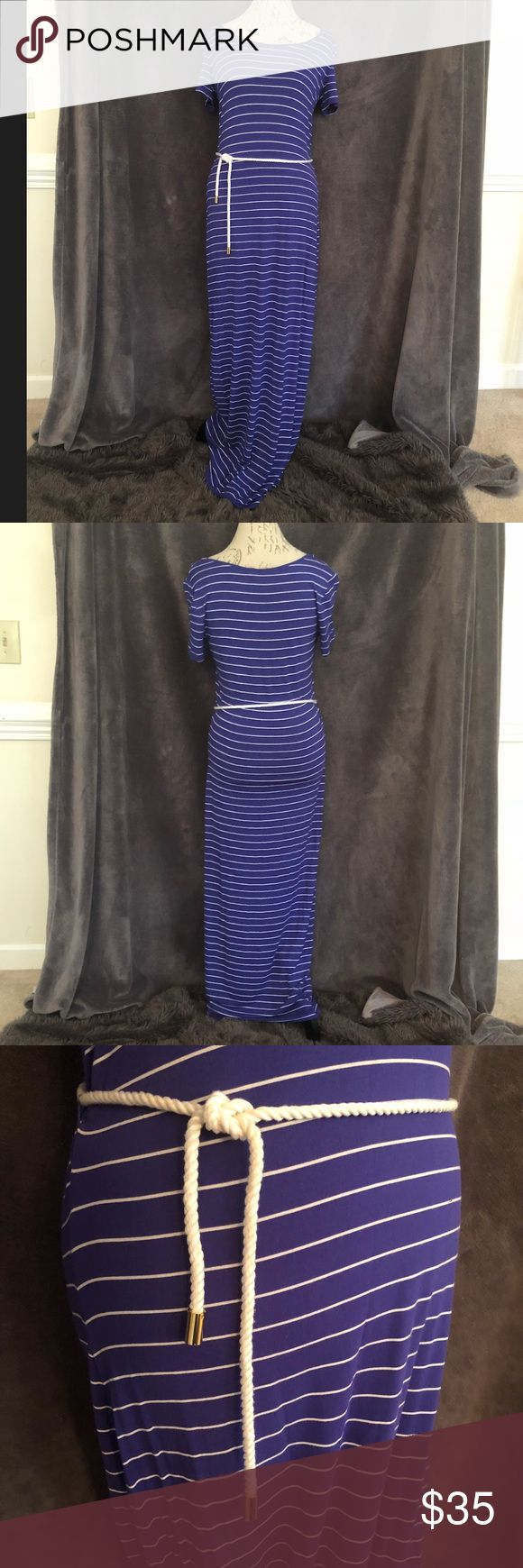 """Calvin Klein nautical maxi dress Calvin Klein nautical maxi dress. Short sleeve. Length is approx 55"""". Scoop neck, short sleeves. One of the belt loops has come unstitched (pictured). Only worn once. Calvin Klein Dresses Maxi"""