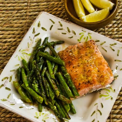 Steamed Wild Salmon and Asparagus Steamed to perfection in about 15 minutes, this healthy and nutritious salmon and asparagus dish makes a quick and easy Detox Drop dinner with very little clean up. Serve with a detox-friendly fast carb and a squeeze of lemon juice. www.Mydietfreelife.com