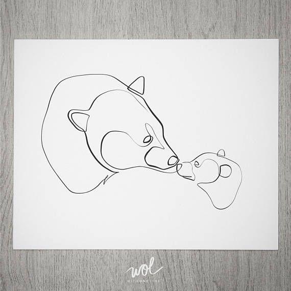 Mamma Bear Gift | Minimal Animal Art | Line Art | Gift for Moms | Bear Art | Black and White Bear | Single Line | Bears Gift | One Line Bear – Luna wolf