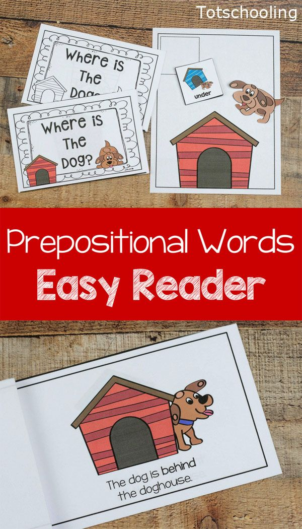 FREE printable Dog themed Prepositional words activity and emergent reader book. Great for kids to learn prepositions and positional words, as well as a cute easy book for beginning readers.