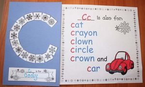 """Alphabet activities: Adorable snowflake letter craft. Children snip & glue the different snowflake squares to their letter card, which is their initial, and fill in the blank with their name. """"C is for Cody"""".  Older students can attach the vocabulary-building worksheet, which they fill in with other nouns that begin with that letter. I have my kiddos draw a picture of one of the items. Completed projects make a cute bulletin board or class-made booklet."""