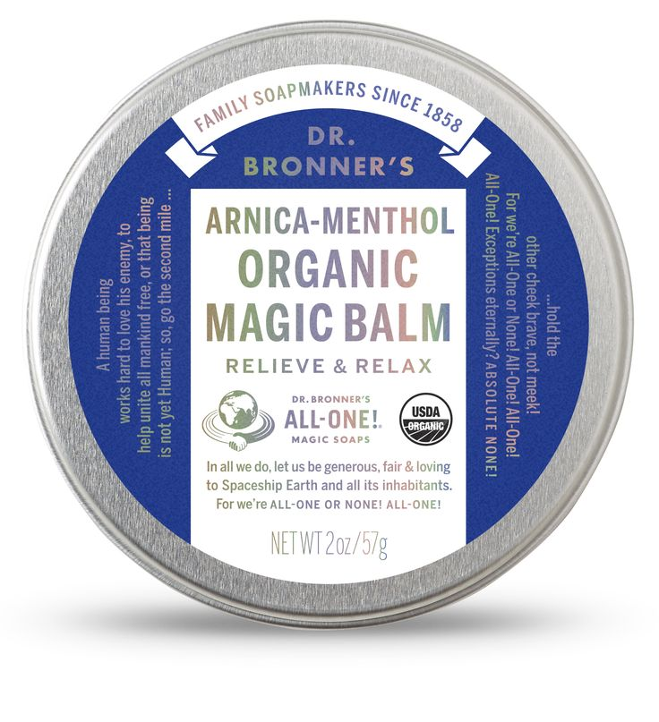 Dr. Bronner's Arnica-Menthol Organic Magic Balm: Use to moisturize-heal chapped-dry skin anywhere on your body! Quickly treat dry hands or cuticles, chapped chins or cheeks – provide relief for chafed skin where needed.