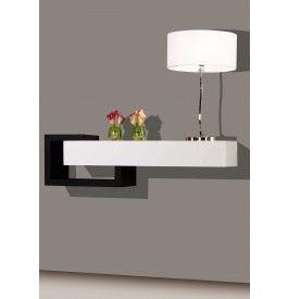 2443 - Console design laque blanc et noir brillants 1 tiroir