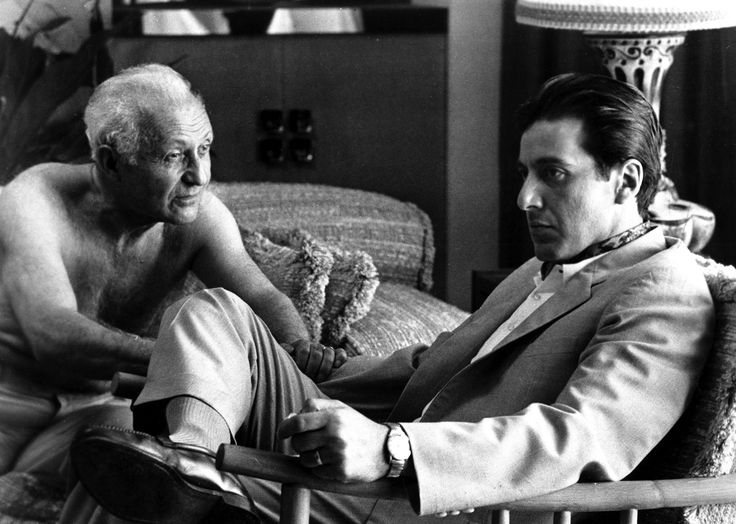 Lee Strasberg and Al Pacino in THE GODFATHER Part II (1974)