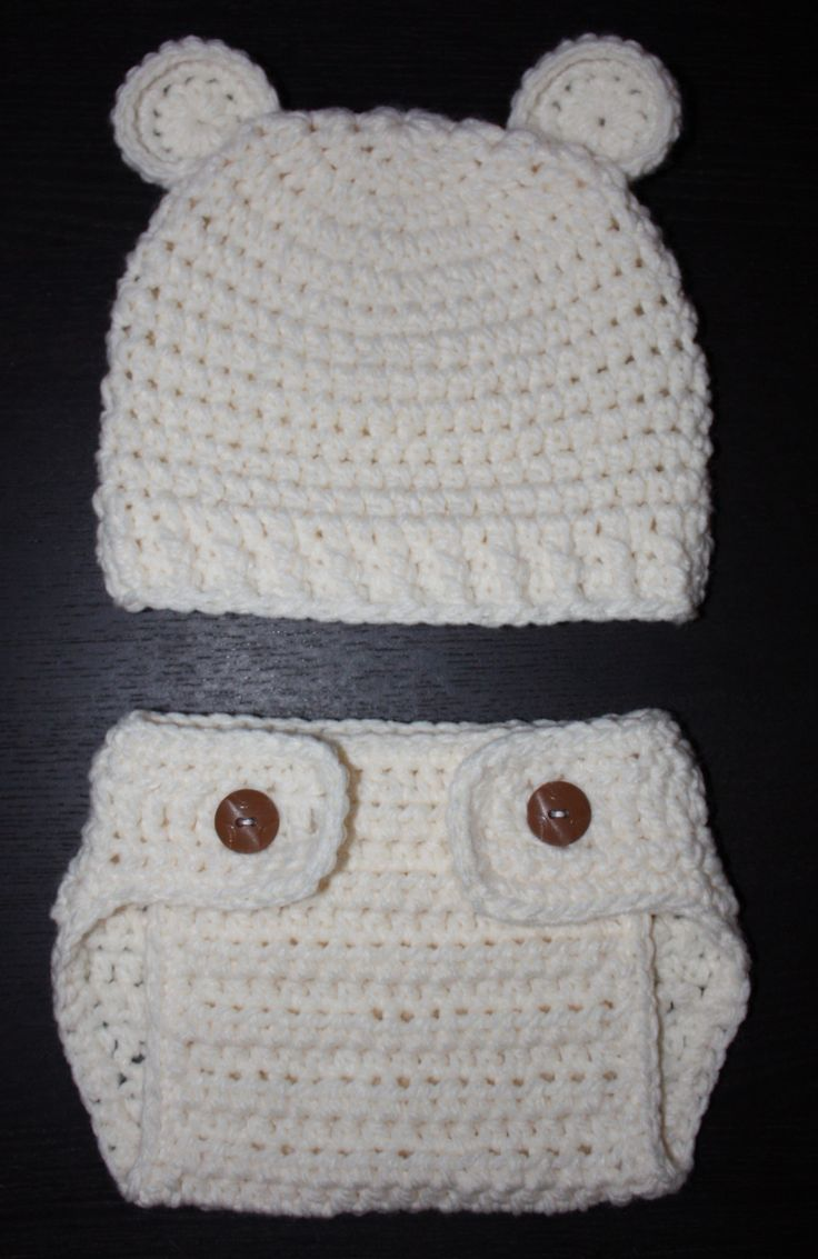 Crochet Bear Hat & Diaper Cover omg this is too cute