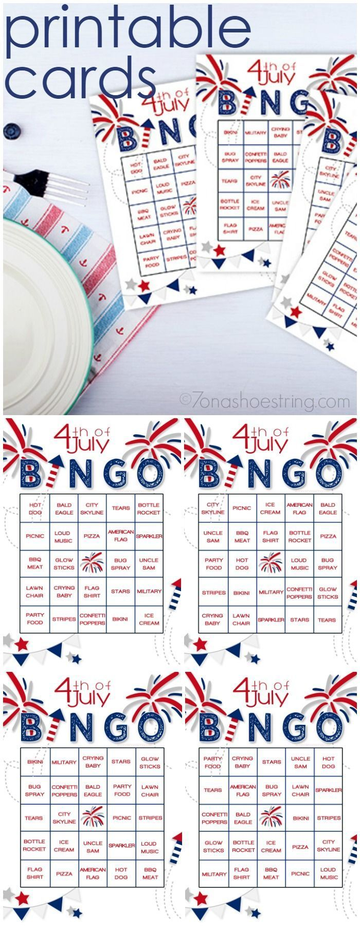 What is your family's 4th of July tradition? Have fun while waiting for fireworks with this Printable 4th of July Bingo game.