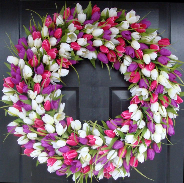 24 inch Tulip Spring Wreath- Large Outdoor Spring Wreath- Easter Wreath- The Original Tulip Wreath- Few Remain. $90.00, via Etsy.