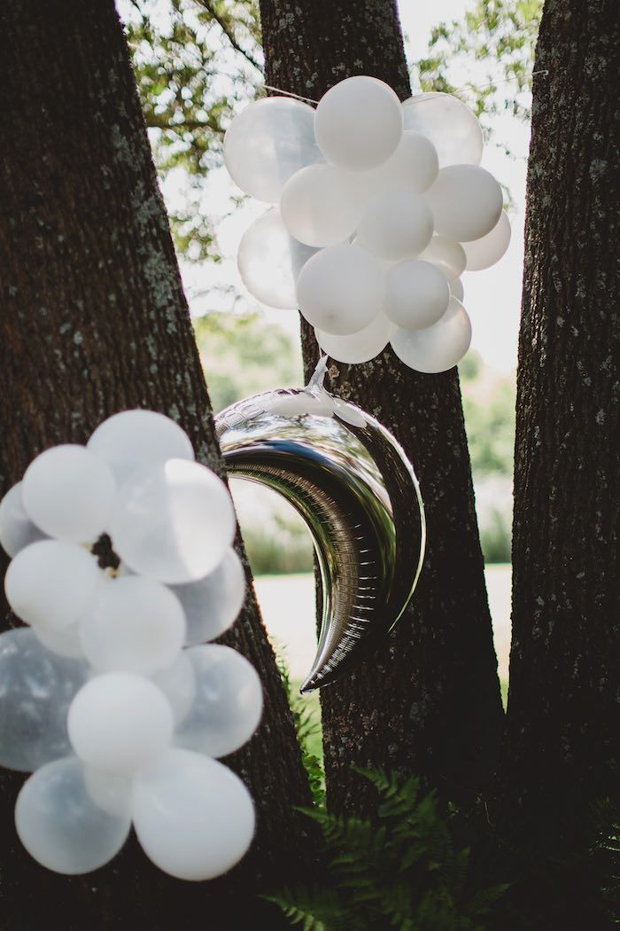 "Moon and cloud balloons from a ""Two the Moon"" 2nd Birthday Party on Kara's Party Ideas 