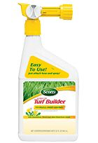 Scotts® Liquid Turf Builder with Plus 2 Weed Control: Greens your lawn in 24 hours and kills weeds!   Easy to use!   Just attach hose and spray!   Kills dandelions, clover and other listed lawn weeds.  Spray when weeds are actively growing.   Use on bluegrass, fescue, ryegrass, bahiagrass, common bermudagrass, centipedegrass, and zoysia grass. See our broad leaf weeds video  Not for sale in Puerto Rico, Virgin Islands, and Pinellas County Florida.