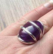 Zilveren edelsteen ring met cabochon Amethist ring maat 18 mm. | Zilveren Edelsteen Ringen | Zilveren Edelsteen Sieraden | Stones and Silver...