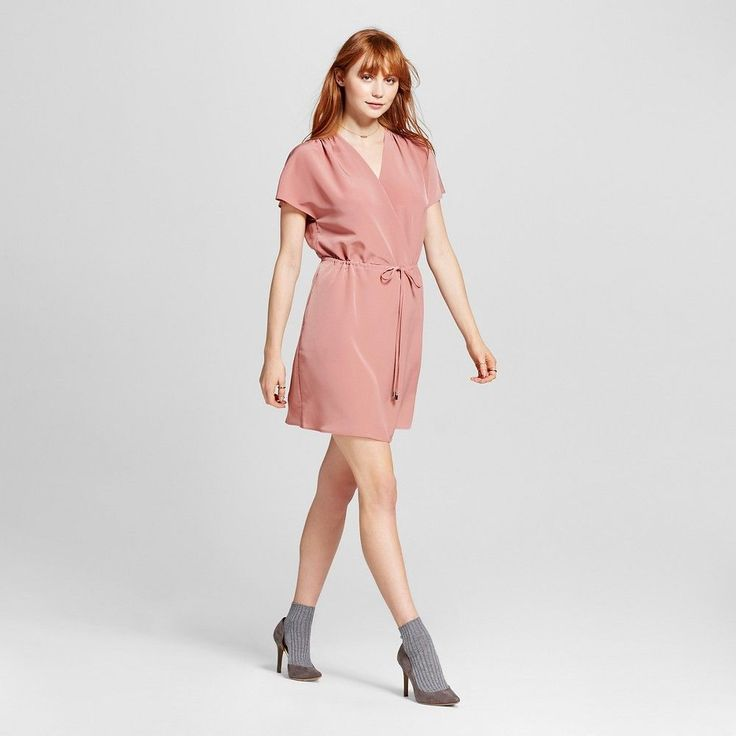 Women's Woven Surplice Dress with Tie Waist Pink XL - Mossimo