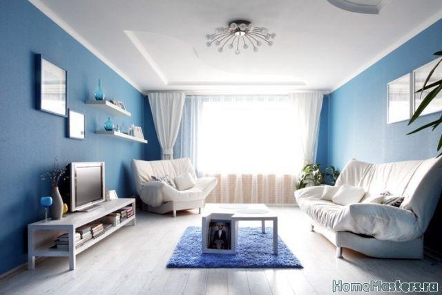 Синие стены в гостинной в альбоме Дизайн интерьера гостиной: