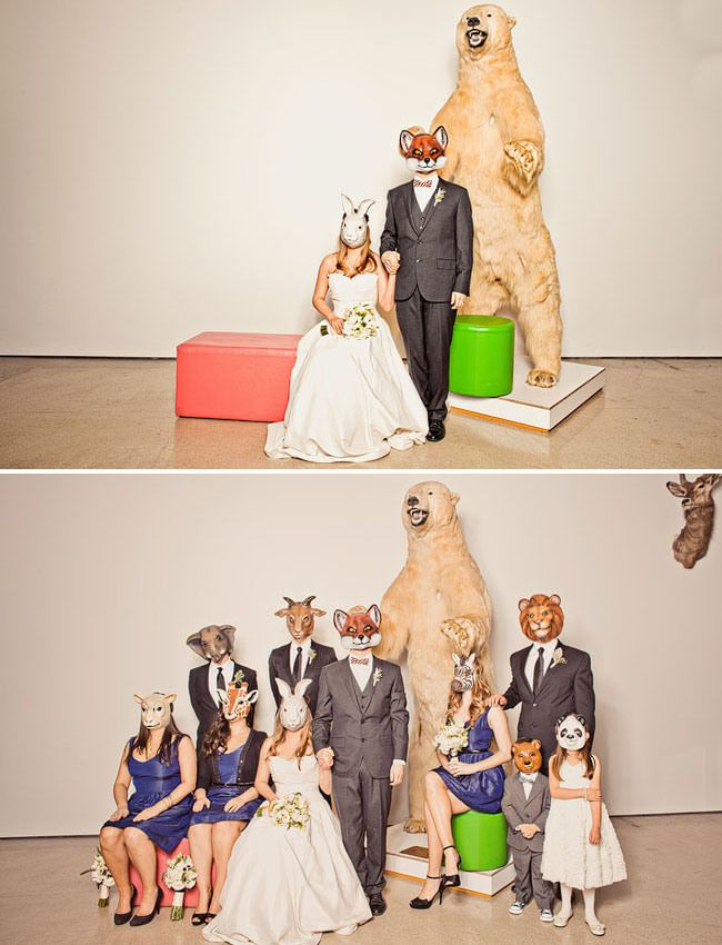 wedding with animal masks