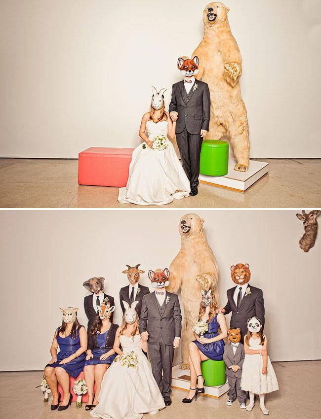 wedding with animal masks