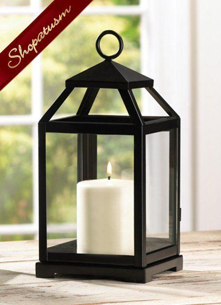 Black Contemporary Square Candle Lantern Centerpiece by Shopatusm.com