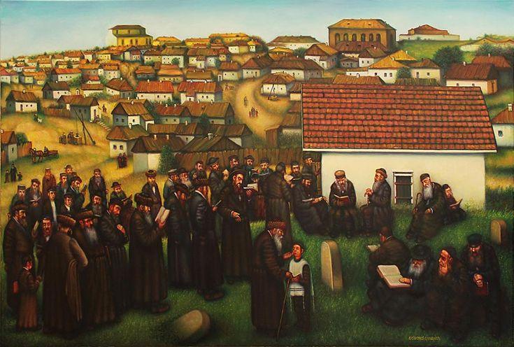 "KOL HA OLAM KULO GESHER ZAR MEOD... ""NA, NACH, NACHMA, NACHMAN MI UMAN"" Old Uman, Breslav Hassids on the grave of Rabbi Nachman, on the eve of Rosh Ha Shanah. oil on canvas. 120х80cm. Старая Умань, бреславские хасиды на могиле раби Нахмана накануне Рош ха Шана. холст, масло."