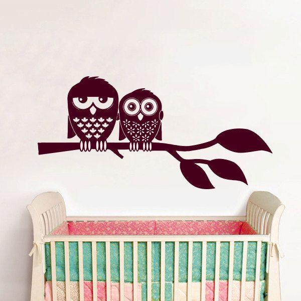 Burgundy Owls Nursery Sticker Wall Art