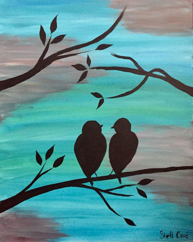 Had fun painting this at a painting party this past weekend. 'Love Birds' www.shellcavestudio.com  #wherebeautyandnaturecometogether #art #artist #lovebirds #artgallery #shellcaveart #edmontonartist