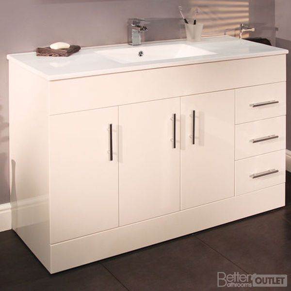 1200mm Vanity Basin Unit Bathroom White Sink Furniture Storage