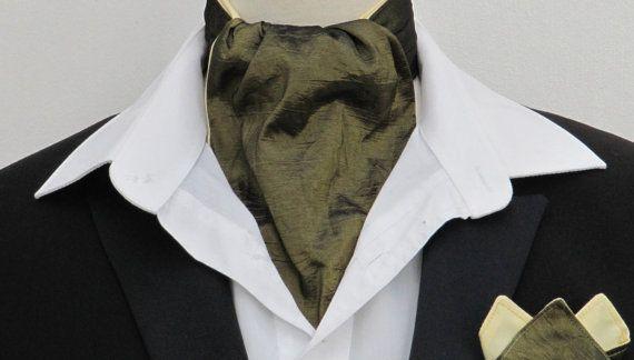 Mens Lichen Green Shot Crushed Taffetta Ascot Cravat + Kerchief