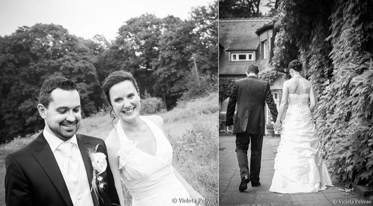 Brautpaarshooting, Brautpaar, Braut, Bräutigam, Brautstrauß, Portrait, Fotoshooting, Brautkleid, schwarz-weiß, Anzug, Natur, Schlosshotel Lerbach, Bergisch Gladbach, Foto: Violeta Pelivan