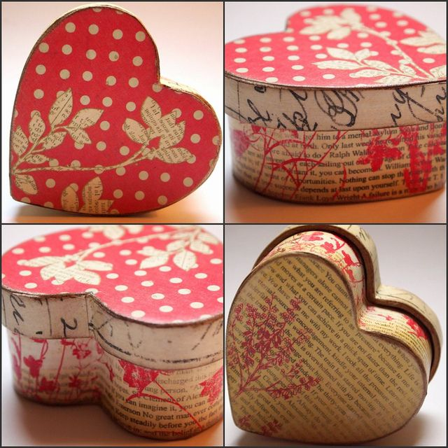 You can't go wrong with this pretty heart shaped box on Valentine's Day! Have a go and decorate it yourself and fill it with something delicious. Get one of our cardboard boxes and decorate it Decopatch paper and wrap it with a gorgeous ribbon. More craft and DIY ideas from http://www.craftmill.co.uk