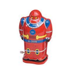 Kleine robot rood *** Ga terug naar vroeger met deze mooie blikken robot. Nostalgische robot in een retro-uitvoering. Deze favoriete robotjes zijn opwindbaar en gaan traagjes vooruit. Cool speelgoed beschikbaar in de kleuren blauw, rood en grijs.