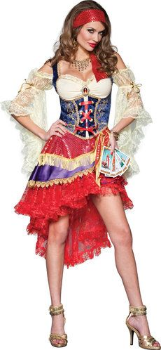 Gypsy costume with corset, petticoat and tarot cards! Save 10% Halloween costumes using coupon code PinMyLook10