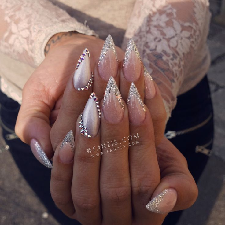 #sharp #pointy #ice #silver #sparkling #glitter #nails