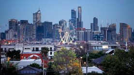 Panoramic view of the city from roof of Footscray market