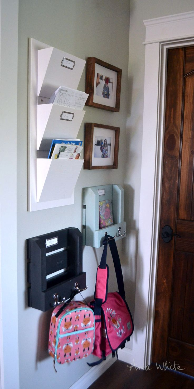 Ana White | Build a Wall Shelf Organizer with Hooks and Mail Slot - Back2School 2015 | Free and Easy DIY Project and Furniture Plans