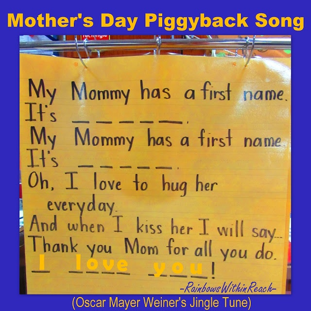 Anchor Chart for Mother's Day, Mother's Day poem, kindergarten Mother's Day song