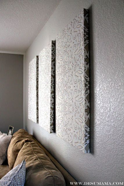 DIY Fabric Wall Panels no canvas required! Make on a smaller scale, in solid color microfiber to cover wall behind bed (would need to make ~20