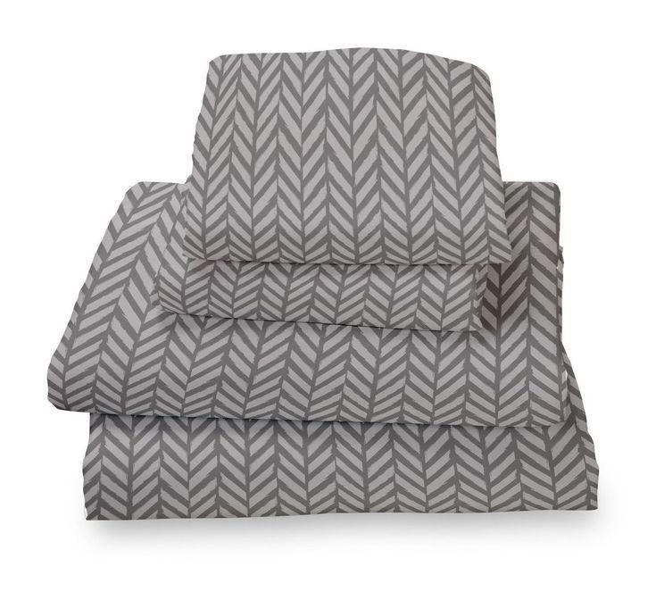 Grey herringbone ultra microfiber bed sheet set