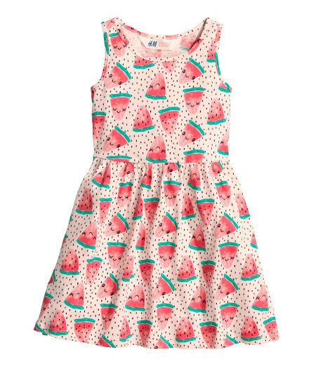 Check this out! Sleeveless dress in cotton jersey with a printed pattern, seam at waist, and gently flared skirt. - Visit hm.com to see more.